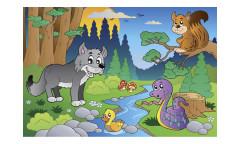 Vliesová fototapeta Zvířátka v lese 0336