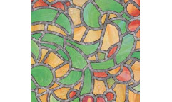 Samolepicí fólie na sklo Reims Green Yellow - Vitráž zelená, žlutá 10003, 10425
