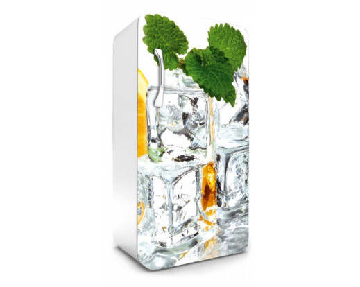 Samolepicí fototapeta na lednici Ice Cubes, Kostky ledu s mátou a citronem