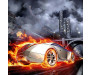 Samolepicí fototapeta na podlahu Car in Flames, Auto v plamenech