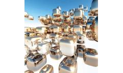 Samolepicí fototapeta na podlahu Silver Cubes, Stříbrné kostky