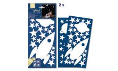 Svítící samolepka Raketa a hvězdy 77226