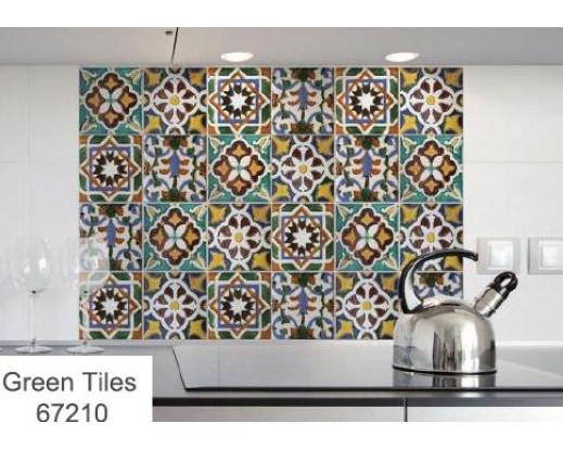 Samolepka do kuchyně Green Tiles 67210 Zelené kachličky
