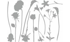 Samolepka Stříbrné květiny 350-0178