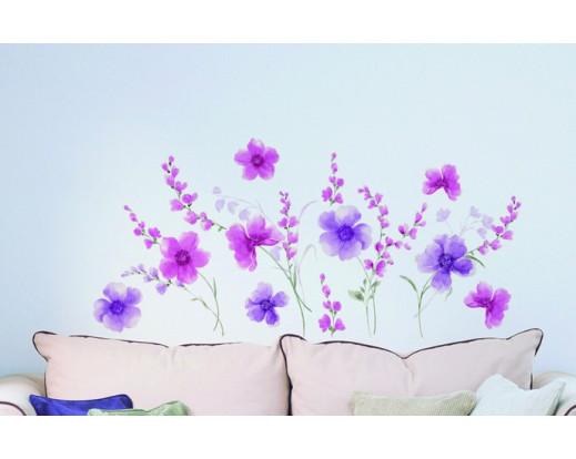 Samolepka Purple Flowers 57717 Květy