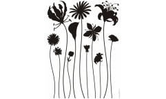 Samolepka Černé květy F 441