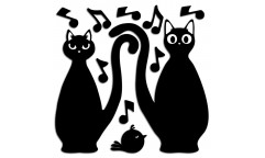 Pěnová samolepka Cats Silhouettes 54511 Kočky