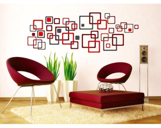 Samolepka Red squares, Červené čtverce ST1 020