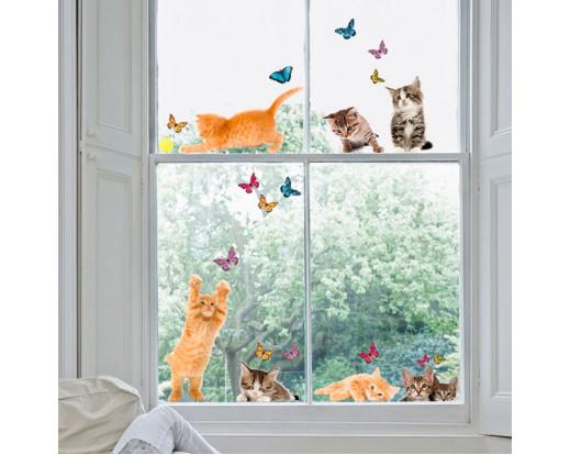 Elektrostatická dekorace na sklo Cats 64001 Kočky