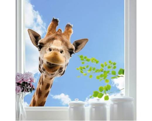 Elektrostatická dekorace na sklo Giraffe 68202 Žirafa