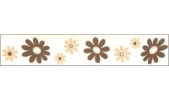 Samolepicí bordura Hnědé květy - DOPRODEJ